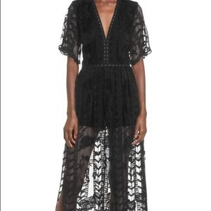 Black lace romper maxi dress